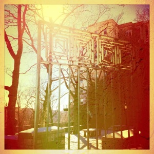 gate at 'margaret corbin circle', upper manhattan.